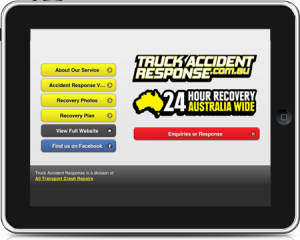 Truck Accident Response mobile site on iPad